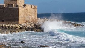 Spring waves. At Paphos fort Royalty Free Stock Photography