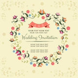 Spring Wedding Invitation. Wedding invitation in spring and cute style Royalty Free Stock Images