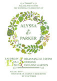 Spring wedding invitation with green leaves wreath Royalty Free Stock Images
