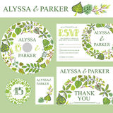 Spring wedding invitation set.Wreath with green Stock Photography
