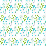 Spring wild flower blue millefleurs field seamless pattern. Floral tender fine summer vector pattern on white background. For fabric textile prints and apparel Royalty Free Stock Photos