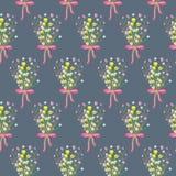 Spring wild flower bouquet seamless pattern. Royalty Free Stock Photos