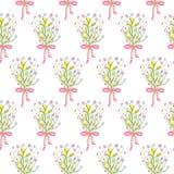 Spring wild flower bouquet seamless pattern. Stock Image