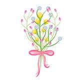 Spring wild flower bouquet vector illustration. Stock Images