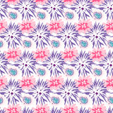 Spring wild velvet and rose flower field seamless pattern. Floral tender fine summer dense vector pattern on white background. For fabric textile prints and Royalty Free Stock Images