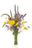Spring Wildflower Posy. With bluebell, buttercup, dandelion and rose campion flowers with wild grass stems, isolated over white background Royalty Free Stock Photos