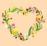 Spring wildflowers heart shaped frame Royalty Free Stock Image
