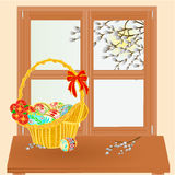 Spring window with Easter basket vector. Spring window and pussy willow with Easter basket vector illustration Royalty Free Stock Photography