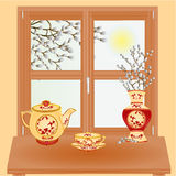 Spring window with pussy willow vector Stock Image