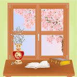 Spring window with sakura  Stock Images