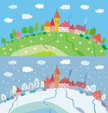 Spring and winter landscape with houses and trees. Stock Photography