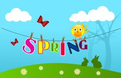 Spring on wire Stock Images
