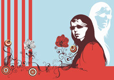 Spring woman. Illustration of a woman and decorative patterns Stock Photography