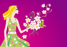 Spring woman. With white flower Stock Images