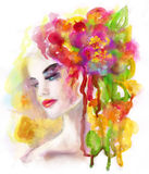 Spring woman. Abstract portrait beautiful  watercolor,  hand painted  drawing Royalty Free Stock Image