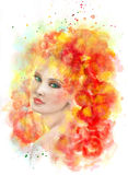 Spring woman. Abstract portrait beautiful  watercolor,  hand painted  drawing Stock Images