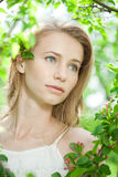 Spring woman blossoming garden Royalty Free Stock Photos