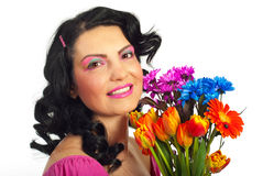 Spring woman with creative make up Stock Photography