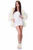 Spring woman dressed flower coat Stock Photo