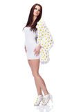 Spring woman dressed flower coat Stock Photography