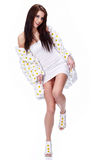 Spring woman dressed flower coat Stock Images