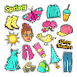 Spring Woman Fashion with Clothes and Accessories Stock Photography