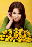 Spring woman with flower Royalty Free Stock Photo