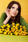 Spring woman with flower Stock Photography