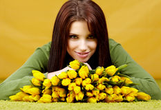 Spring woman with flower Stock Image