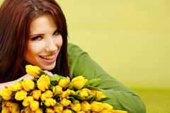 Spring woman with flower Stock Photos