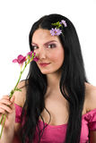 Spring woman and flower Royalty Free Stock Image