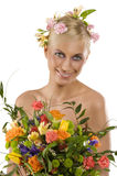 Spring woman with flowers Stock Image