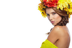 Spring Woman with Flowers Hair Royalty Free Stock Photo