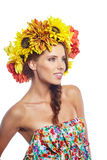 Spring Woman with Flowers Hair Stock Photos