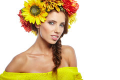 Spring Woman with Flowers Hair Stock Photography