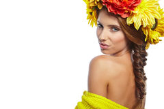Spring Woman with Flowers Hair Stock Image