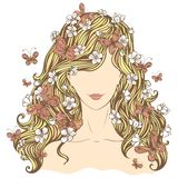Spring woman. Illustration of woman with flowers and butterflies in her hair isolated on white background Stock Photo