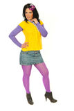 Spring woman in mauve and yellow clothes Stock Image