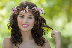 Spring woman in nature Stock Images