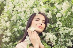 Spring woman outdoors fashion portrait Stock Photos