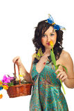 Spring woman smelling tuplip Stock Photos