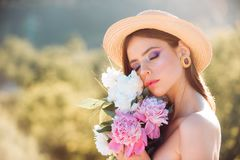 Spring woman. Springtime and vacation. Natural beauty and spa therapy. face and skincare. Travel in summer. Woman with stock photo
