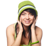 Spring-woman on white background Stock Image