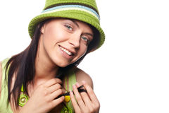 Spring-woman on white background Stock Photography