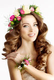 Spring woman Young  Girl flowers Beautiful model wreath bracelet Royalty Free Stock Photography