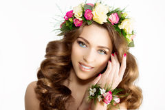 Spring woman Young  Girl flowers Beautiful model wreath bracelet Stock Images