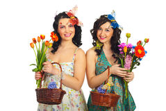 Spring women with creative make up and hairstyle Royalty Free Stock Photo