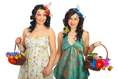 Spring women friends with flowers Stock Photo