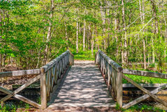 Spring Wooden Bridge Royalty Free Stock Photos