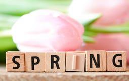 Spring Wooden Letterpress Theme Stock Image